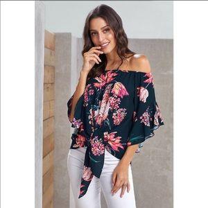 Summer floral Tie- knot off shoulder top